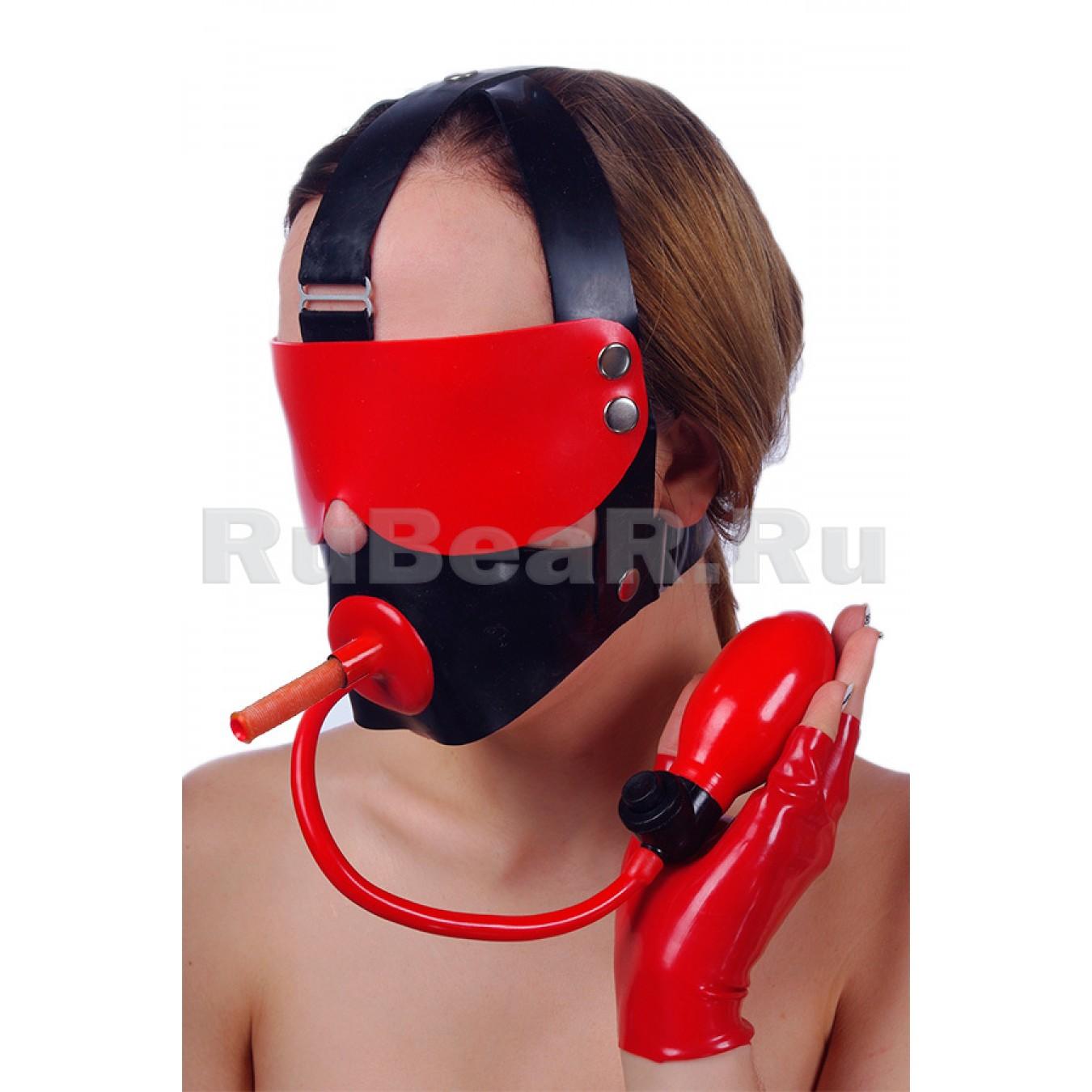 QL6108 Кляп-пробка надувной с трубкой для дыхания, на специальном механизме через голову