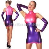 DL0310 Платье с воротником-стойкой трёхцветное