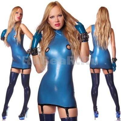 DL0518 Платье с воротником-стойкой двухцветное