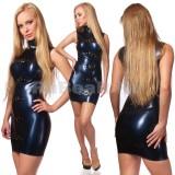 DL0519 Платье с воротником-стойкой двухцветное