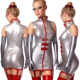 DL0544 Платье с воротником-стойкой двухцветное
