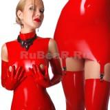 DL0605 Платье с воротником-стойкой двухцветное