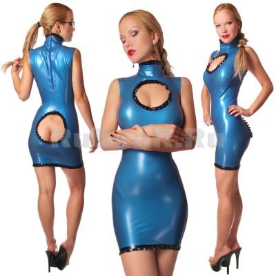 DL0754 Платье с воротником-стойкой двухцветное