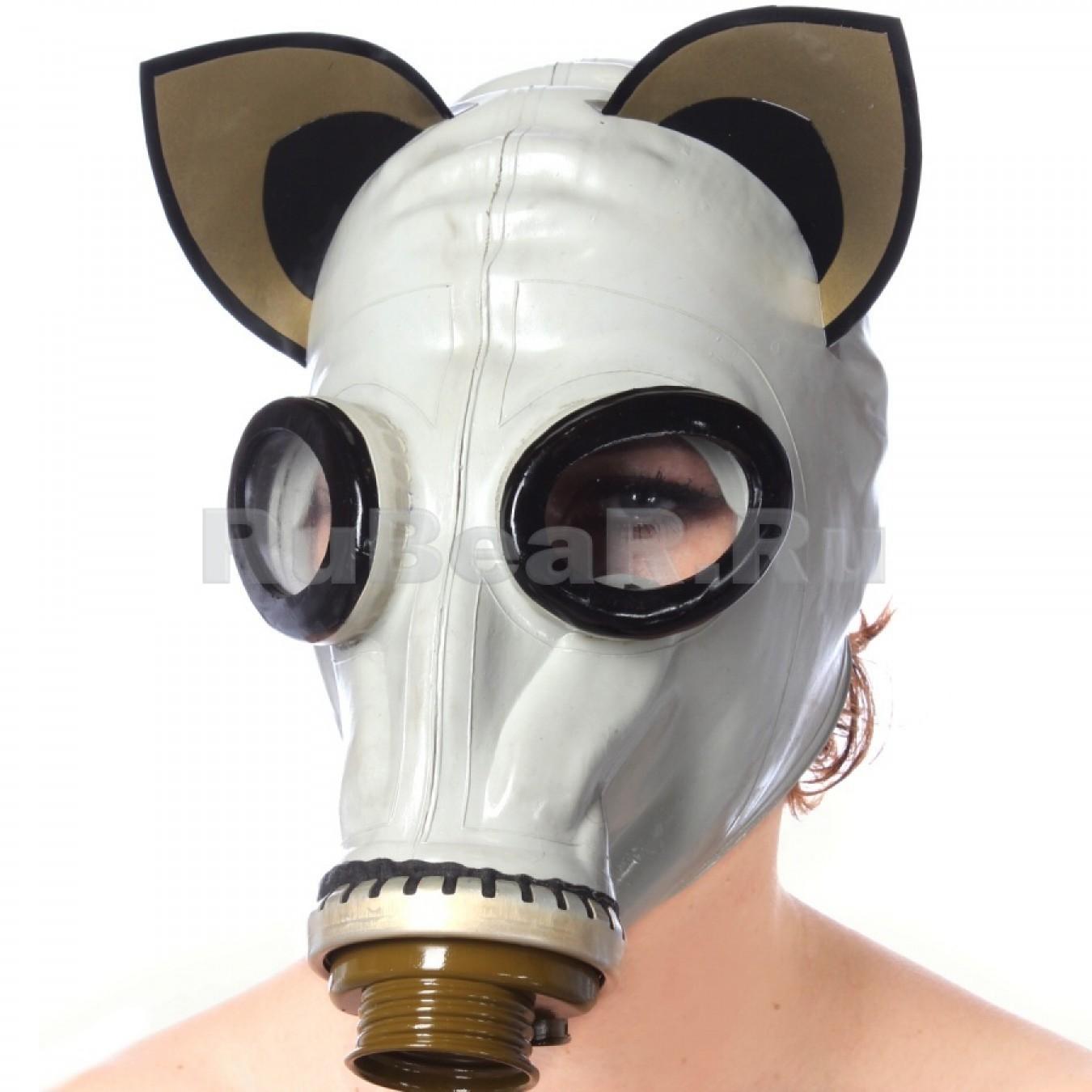 AS9052 Шлем-маска от противогаза серая с кошачьими ушками