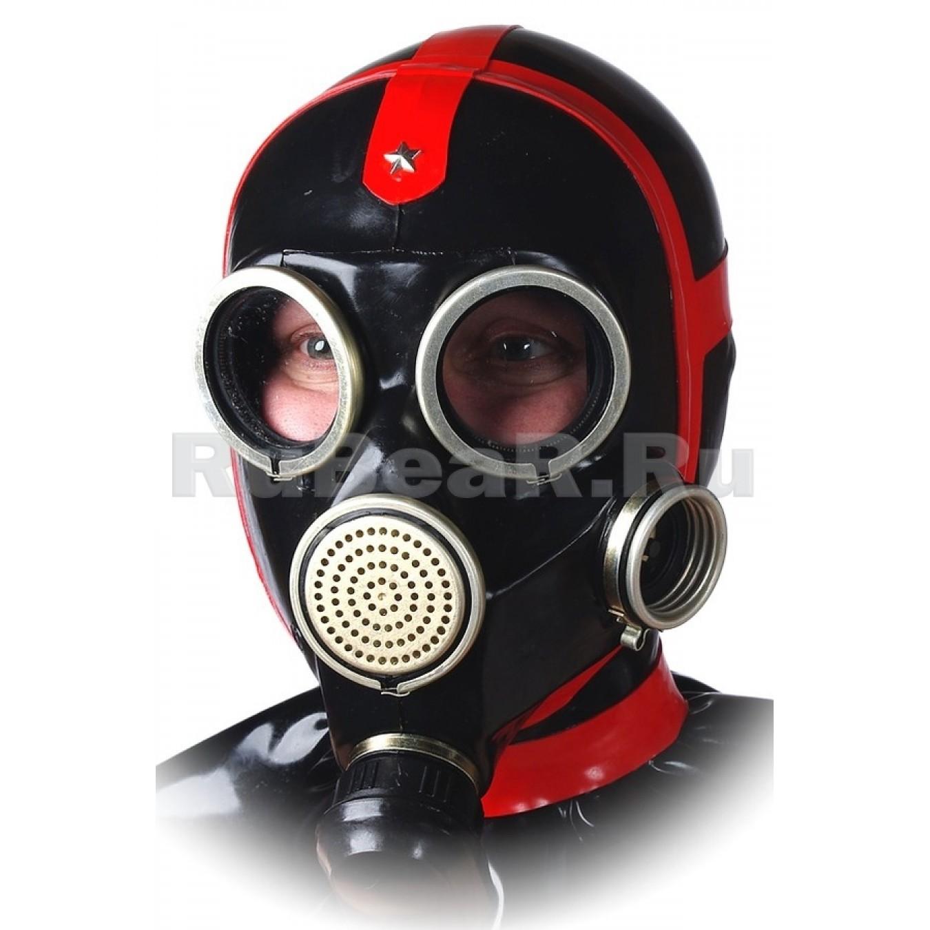 AS9606 Маска от противогаза с приклеенной шеей-капюшоном, воротником палача и контрастными окантовками