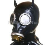 AS9802 Лицевая часть от противогаза черная с ушками, шеей-капюшоном и воротником палача